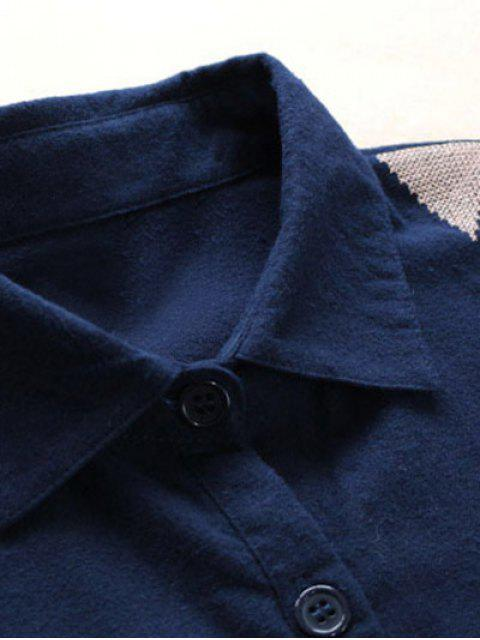 womens Patch Pocket Embroidered Shirt Dress - DEEP BLUE ONE SIZE Mobile