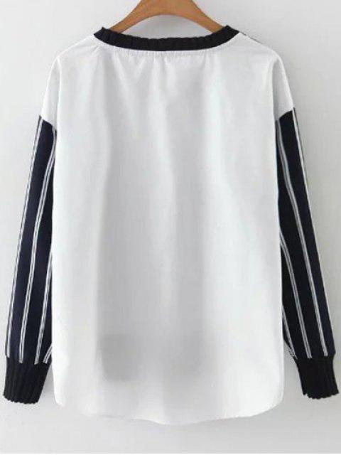 latest Stripes Spliced High Low Sweatshirt - BLUE AND WHITE M Mobile