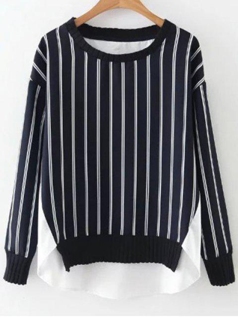 trendy Stripes Spliced High Low Sweatshirt - BLUE AND WHITE S Mobile