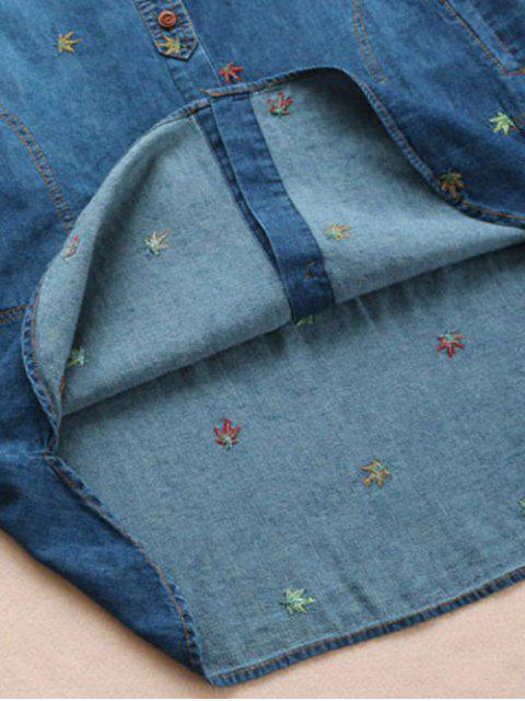shops Maple Embroidered Denim Shirt - BLUE ONE SIZE Mobile