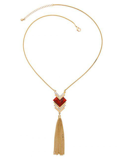 latest Faux Ruby Heart Tassel Sweater Chain - GOLDEN  Mobile