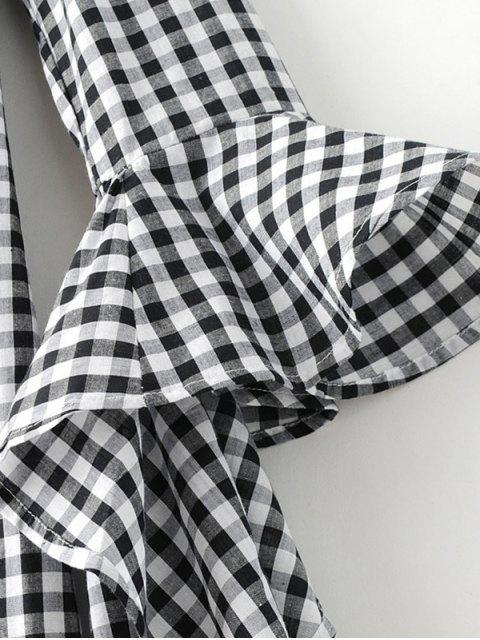 outfit Checked Off Shoulder Flare Sleeve Dress - PLAID S Mobile
