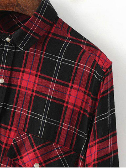 women's Dragon Embroidered Tartan Shirt - PLAID S Mobile