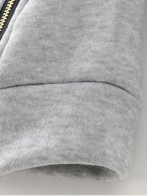 chic Zipper Slit Printed Sweatshirt -   Mobile