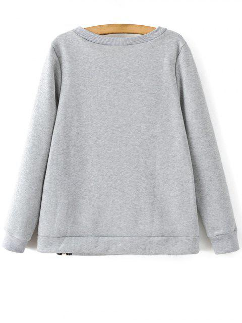 fancy Zipper Slit Printed Sweatshirt -   Mobile