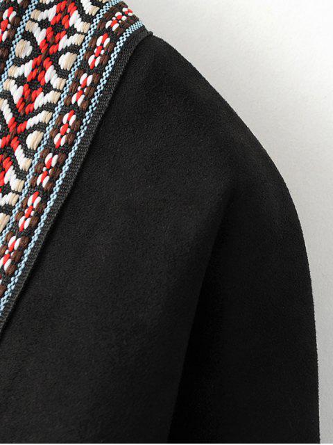 women Faux Suede Fringe Coat - BLACK ONE SIZE Mobile