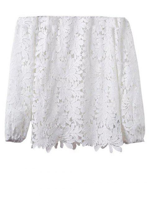 latest Off Shoulder Openwork Lace Hook Top - WHITE M Mobile