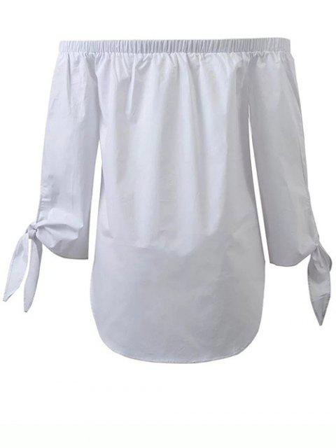 affordable Tied Sleeve Off Shoulder Blouse - WHITE S Mobile