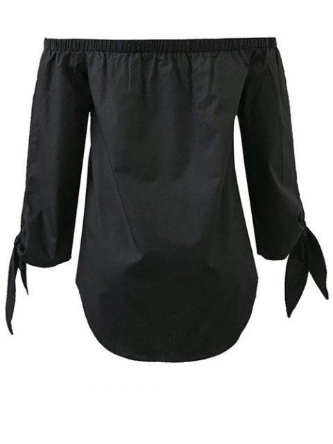 buy Tied Sleeve Off Shoulder Blouse - BLACK L Mobile