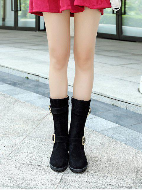 lady Zipper Double Buckle Metal Mid-Calf Boots - BLACK 38 Mobile