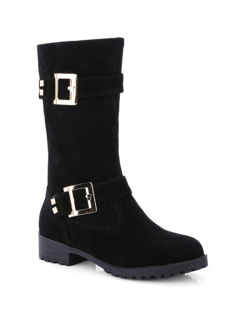 Bota Media Tacón Plano Doble Hebilla y Zipper - Negro 39 Mobile