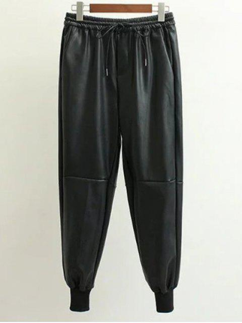 fashion Drawstring Faux Leather Jogger Pants -   Mobile