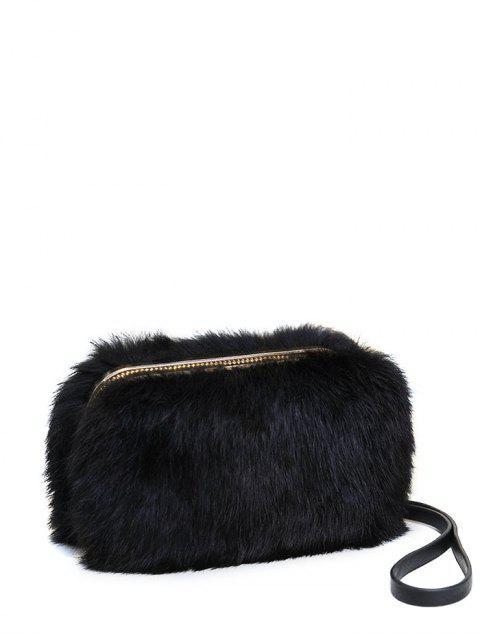 shops Zip Around Metal Trimmed Fuzzy Evening Bag - BLACK  Mobile