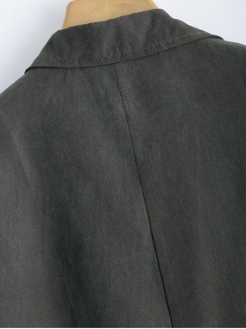 shop Back Slit Drawstring Maxi Trench Coat - GRAY XL Mobile