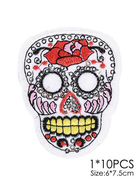 ladies 10 PCS Skull Design Embroidered Patches -   Mobile