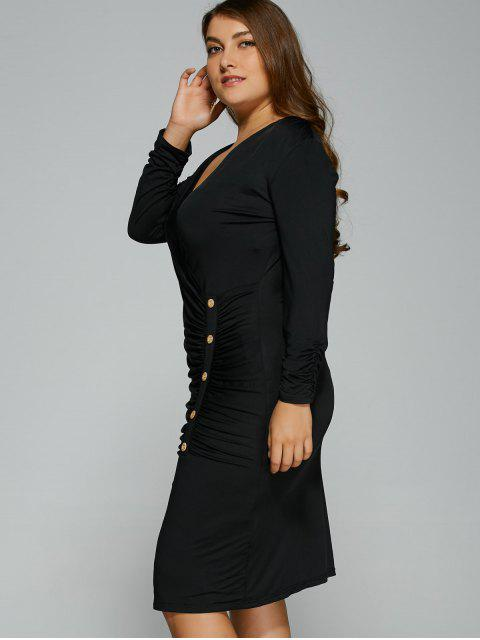 sale Button Decorated Surplice Plus Size Dress - BLACK XL Mobile