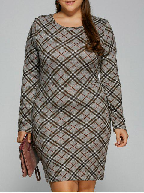 lady Long Sleeve Plaid Sheath Tee Dress - CHECKED 3XL Mobile