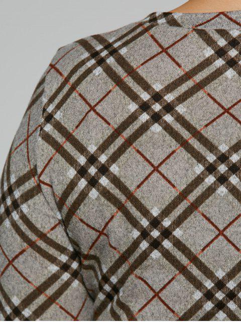 online Long Sleeve Plaid Sheath Tee Dress - CHECKED 5XL Mobile