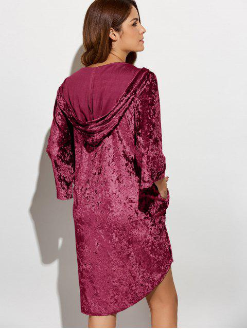 new Hooded Shiny Velvet Dress - WINE RED L Mobile