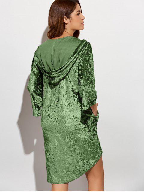 shop Hooded Shiny Velvet Dress - ARMY GREEN L Mobile
