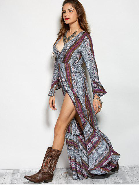 outfits Printed High Slit Crossover Ruffle Bohemian Dress - COLORMIX M Mobile