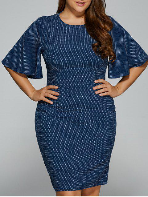 outfits Polka Dot Bodycon Plus Size Dress - PURPLISH BLUE 2XL Mobile