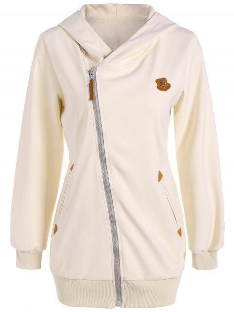 fashion Leather Patch Inclined Zip Up Hoodie - OFF-WHITE S Mobile
