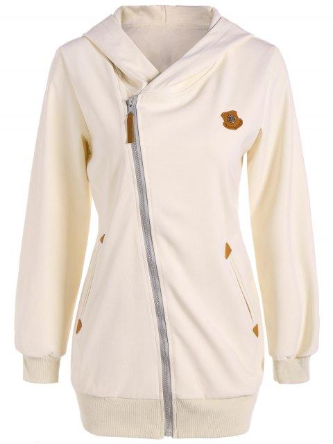 Patch en cuir Zip Inclined Up Hoodie - Blanc Cassé S Mobile