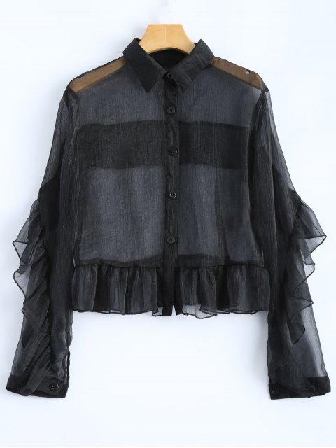 Camisa con volantes Sheer - Negro 2XL Mobile
