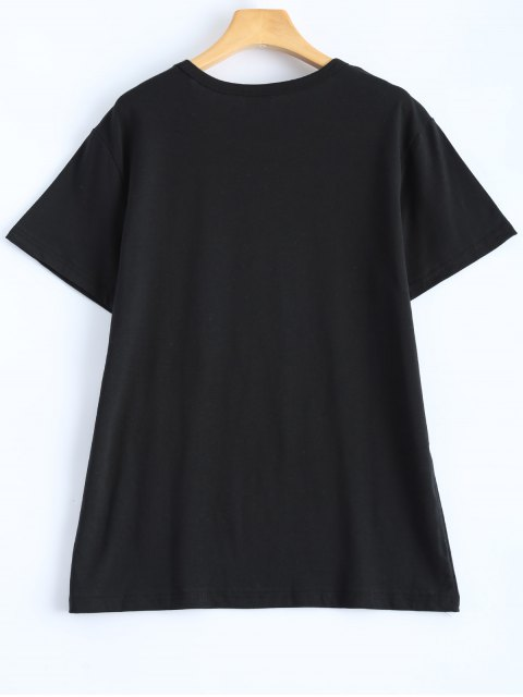 buy Casual Streetwear Letter T-Shirt - BLACK M Mobile