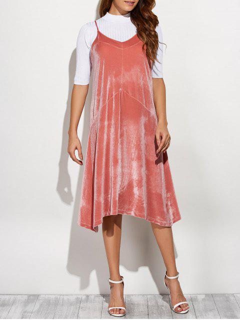 women Loose Velvet Midi Dress - PINK ONE SIZE Mobile