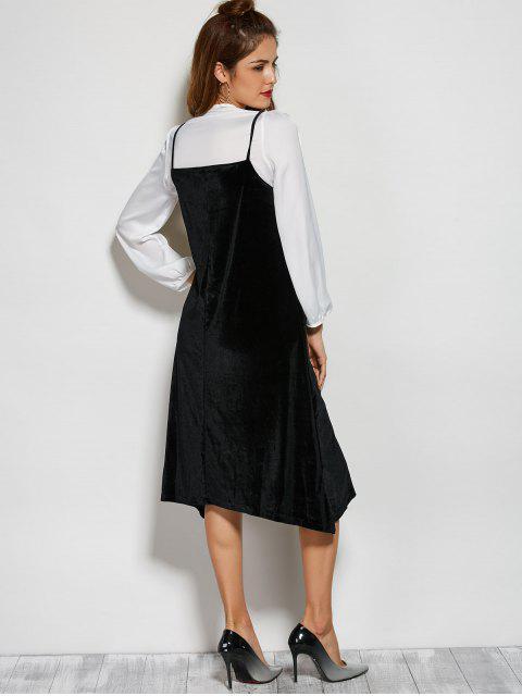 ladies Loose Velvet Midi Dress - BLACK ONE SIZE Mobile