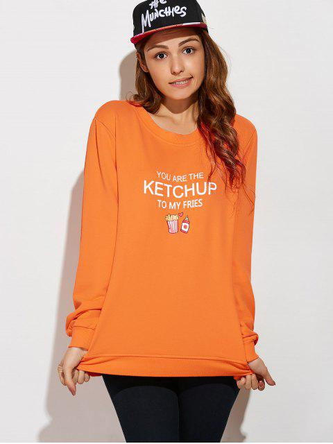 chic Letter Plus Size Sweatshirt - ORANGEPINK 2XL Mobile