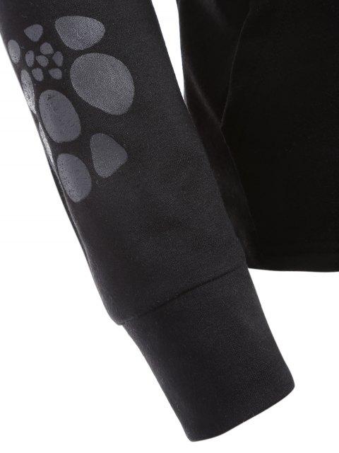 Sweat avec poche sur le devant à imprimé bête et traces de pas - Noir XL Mobile