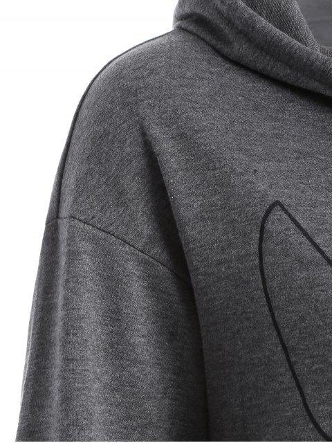Sweat avec poche sur le devant à imprimé bête et traces de pas - Gris XL Mobile