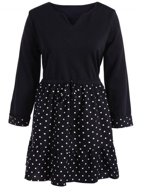 new Plus Size Polka Dot Splicing Dress - BLACK 2XL Mobile