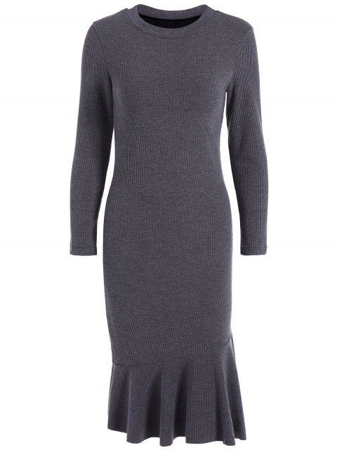 chic Mermaid Sweater Dress - DEEP GRAY L Mobile
