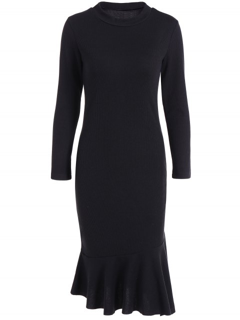 unique Mermaid Sweater Dress - BLACK 3XL Mobile
