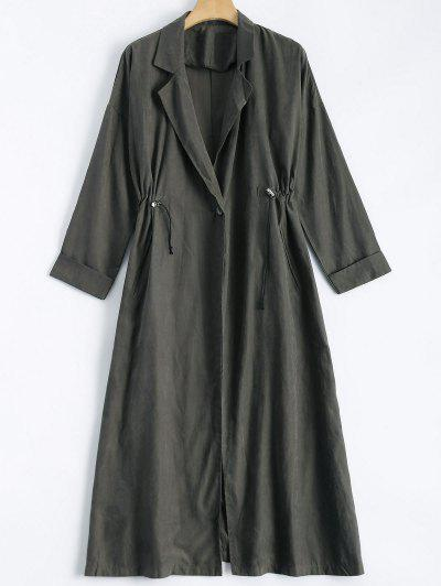 Back Slit Drawstring Maxi Trench Coat - Gray M