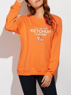 Letter Plus Size Sweatshirt - Orangepink 2xl