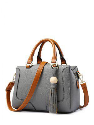 PU Leather Tassel Wood Ball Handbag - Gray