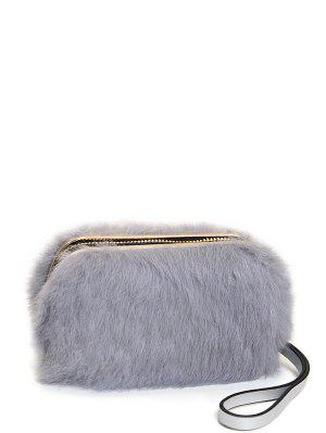 Zip Around Metal Trimmed Fuzzy Evening Bag