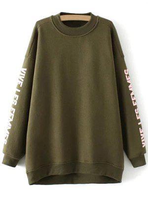 Fleece Letter Pattern Sweatshirt - Army Green M