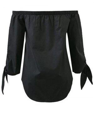 Tied Sleeve Off Shoulder Blouse - Black - Black S