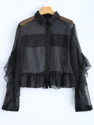 Frilled Sheer Shirt - Preto 2xl