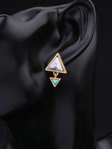 Buy Geometric Triangle Faux Gem Stud Earrings GOLDEN