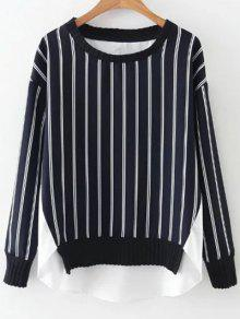 Stripes Spliced High Low Sweatshirt - Blue And White L