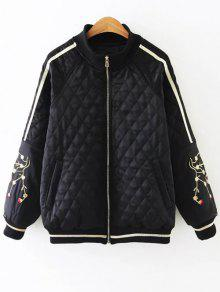 Embroidered Argyle Jacket - Black M