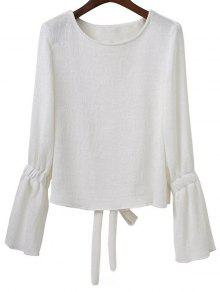 Back Cut Out Flare Sleeve Top - White M