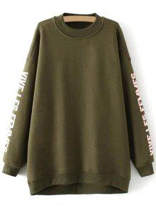 Fleece Letter Pattern Sweatshirt - Army Green M